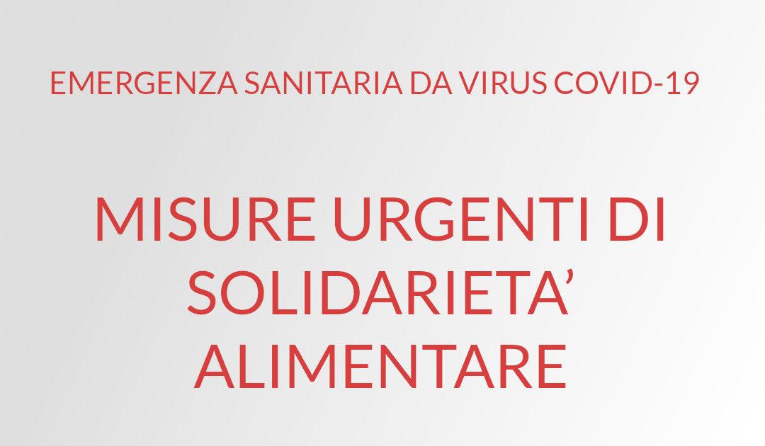 EMERGENZA SANITARIA DA VIRUS COVID-19  MISURE URGENTI DI SOLIDARIETA' ALIMENTARE