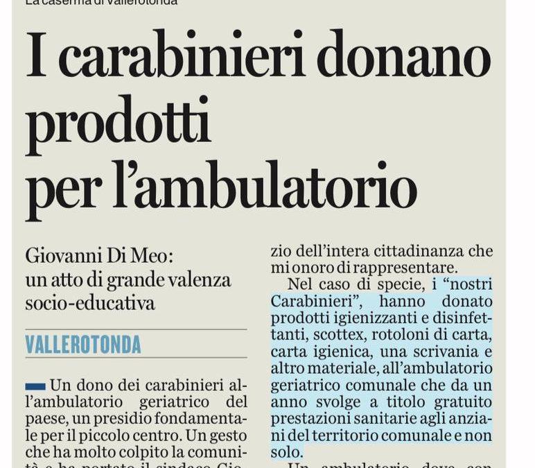 articolo donazione Carabinieri prodotti igienizzanti all'ambulatorio comunale