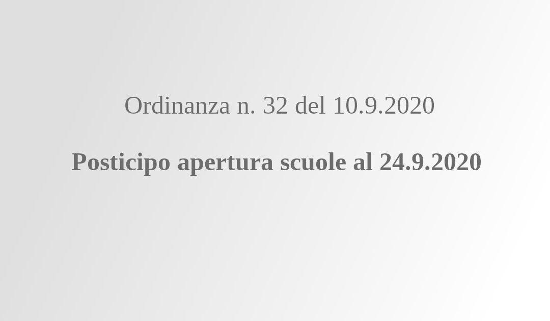 Posticipo apertura scuole al 24.9.2020